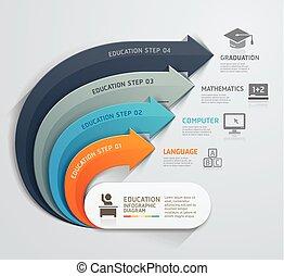 essere, usato, timeline., illustration., diagramma, workflow, opzioni, moderno, numero, disposizione, vettore, web, freccia, infographics, template., educazione, disegno, lattina