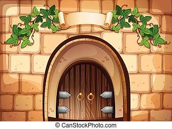 esso, sopra, porta, castel, vite