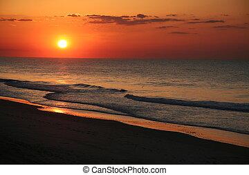 est, spiaggia, alba, costa
