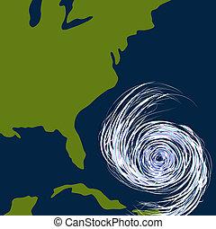 est, uragano, disegno, costa
