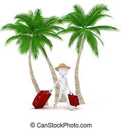 estate, 3d, turista, vacanza, uomo