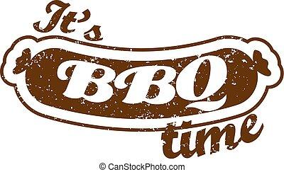 estate, adv., poster., famiglia, cookout., barbecue, picnic, season., sausage:, è, outdoor., isolato, day., time., retro, vector., bbq, meat., illustrazione, relativo, bbq., griglia, beni