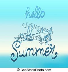estate, aereo, ciao, illustrazione