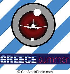 estate, aeroplano, vettore, grecia