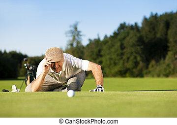 estate, anziano, giocatore golf