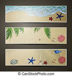 estate, bandiere, vettore, spiaggia
