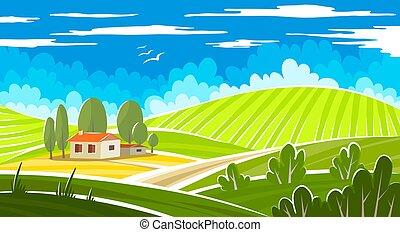 estate, bello, paesaggio, farmhouse.