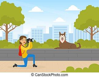 estate, cane, cartone animato, ragazza, fotografo, illustrazione, presa, macchina fotografica, parco, vettore, foto, digitale