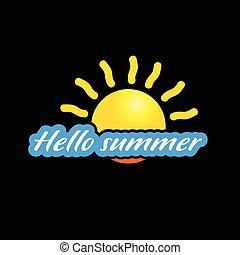 estate, ciao, illustrazione, sole