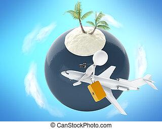 estate, concetto, island., turista, persone, vacanza, tropicale, 3d