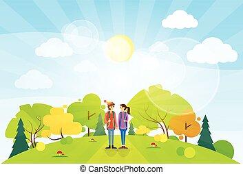 estate, coppia, turista, montagna, zaino, sopra, paesaggio