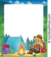 estate, cornice, 1, tema, esploratore, ragazza