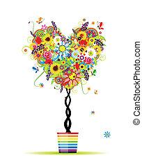 estate, cuore, vaso, albero, forma, disegno, floreale, tuo