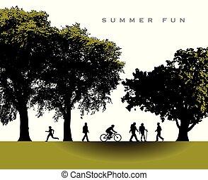estate, delizioso, parco, scena, tempo