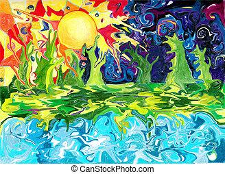 estate, disegno, distante, fantasia