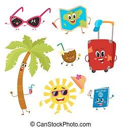 estate, divertente, tropici, vacanza, caratteri, attributes, viaggiare