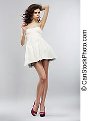 estate, donna, dress., luce, collezione, minimalism., elegante, bianco, moda, style.
