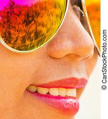 estate, donna, occhiali da sole, ragazza, mostra, felice