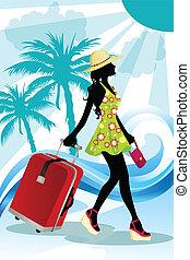 estate, donna, viaggiare