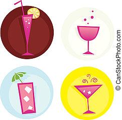 estate, drinks., miscelare, iconset., caldo, vector., bibite