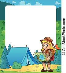 estate, esploratore, cornice, tema, 2, ragazza