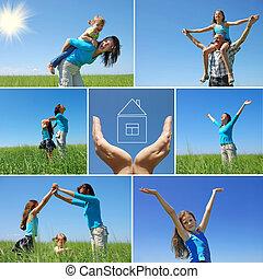 estate, esterno, famiglia, collage, -, felice