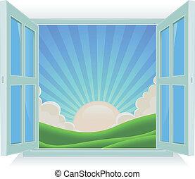 estate, esterno, finestra, paesaggio