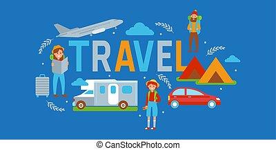 estate, esterno, viaggiatori, automobile, activity., femmina, campeggiare, campeggio, aereo, turismo, viaggiare, vacanza, veicolo, tenda, tale, bandiera, illustration., map., vettore, bus., hiking., maschio, concept.