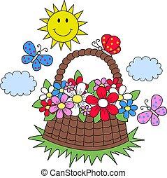 estate, farfalle, fiori, sole