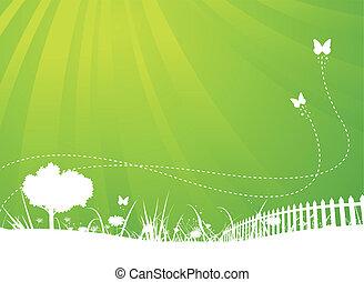 estate, farfalle, giardino, fondo, primavera