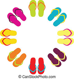 estate, flipflops, colorito, isolato, cerchio, bianco