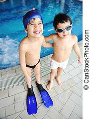 estate, gioco, nuoto, felicità, attività, acqua, stagno, bambini