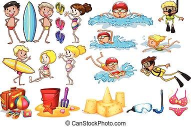 estate, godere, gruppo, bambini