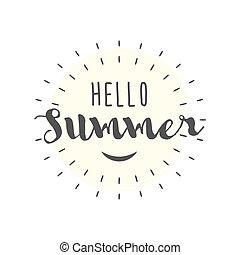 estate, lettere, illustrazione, vettore, sorriso, ciao