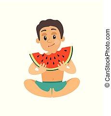 estate, mangiare, frutta, vettore, adolescente, anguria