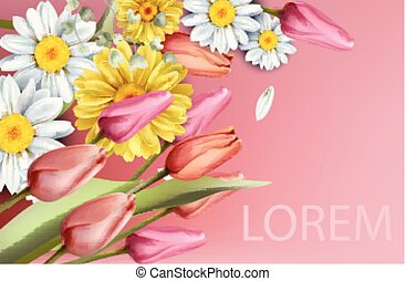 estate, mazzolino, primavera, watercolor., sfondi, margherita, vettore, tulips, fiori