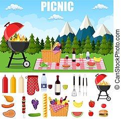 estate, picnic, montagne.
