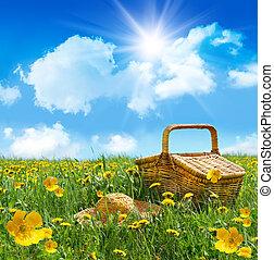 estate, picnic, paglia, campo, cesto, cappello