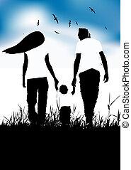 estate, poco, famiglia, passeggiata, campo, bambino