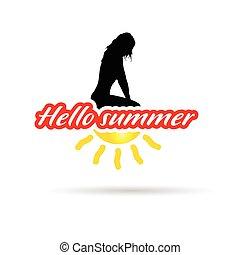 estate, ragazza, ciao, illustrazione, segno