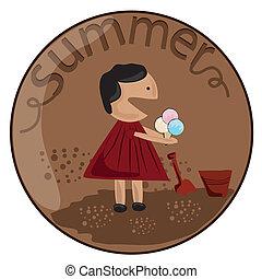estate, ragazza, icecream