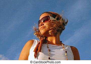 estate, ragazza, moda, occhiali da sole