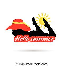 estate, ragazza, silhouette, ciao, illustrazione