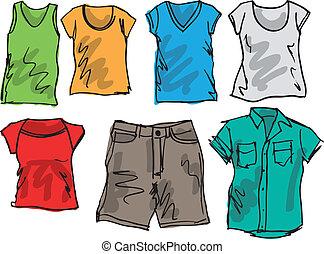 estate, schizzo, collection., illustrazione, vettore, abbigliamento