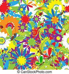 estate, seamless, day., disegno, fondo, floreale, tuo