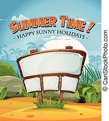 estate, segno, legno, vacanze, spiaggia, paesaggio