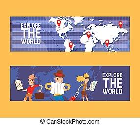 estate, set, campeggiare, illustration., bandiere, zaino, viaggiatori, globo, maschio, vacanza, mappa, locations., esplorare, vettore, esplorazione, hiking., mondo, suitcase., femmina, turismo, concept.