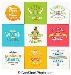 estate, set, viaggiare, vacanza, vettore, disegno, tipo