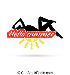 estate, silhouette, bellezza, illustrazione, ragazza, ciao