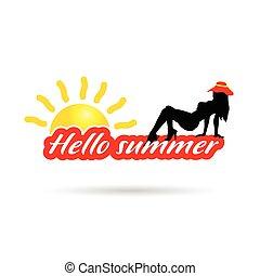 estate, silhouette, colorare, illustrazione, ragazza, ciao